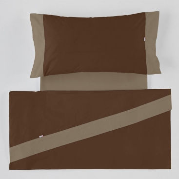 Sábana Liso Aplique 100% algodón chocolate-vison de Estela