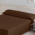 Ambiente sábana Liso Biés 100% algodón chocolate de Estela