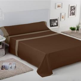 Ambiente sábana Liso Aplique 100% algodón chocolate-vison de Estela