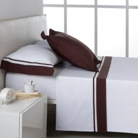 Ambiente sábana Marbella 100% algodón blanco-chocolate de Estela