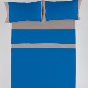 Sábana Liso Aplique 50/50 algodón y poliéster azulón-plomo de Estela